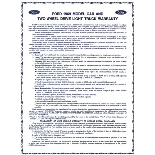 NEW CAR WARRANTY SHEET