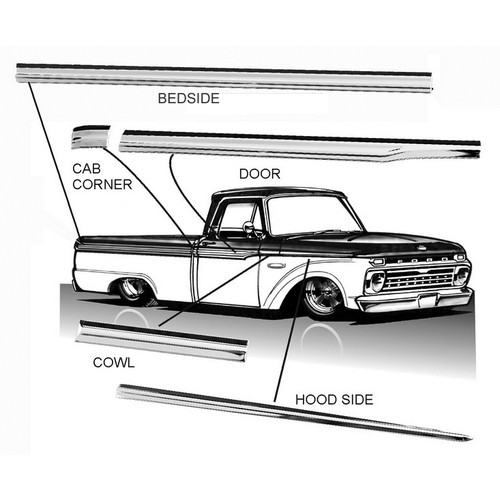Complete Body Side Molding Kit - Long Bed