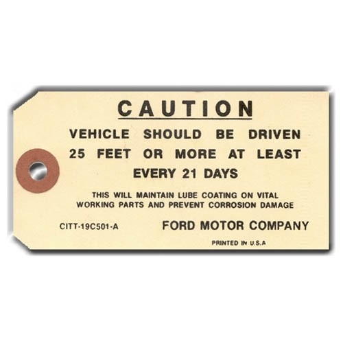 CAUTION DRIVER TAG