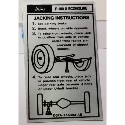 1973-74 Truck & Econoline Jack Instruction Decal
