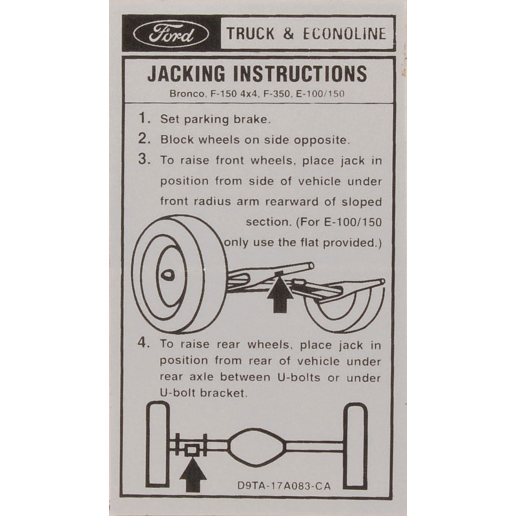 Jack Instruction Decal