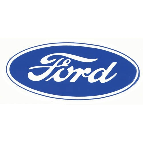 "Ford® Oval Decal - 17"" Blue on White"