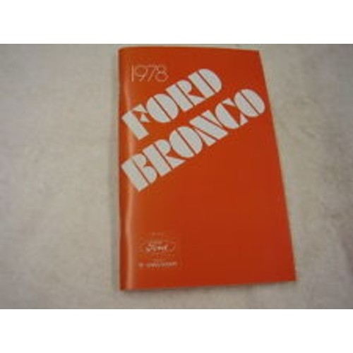 1978 Bronco Owners Manual