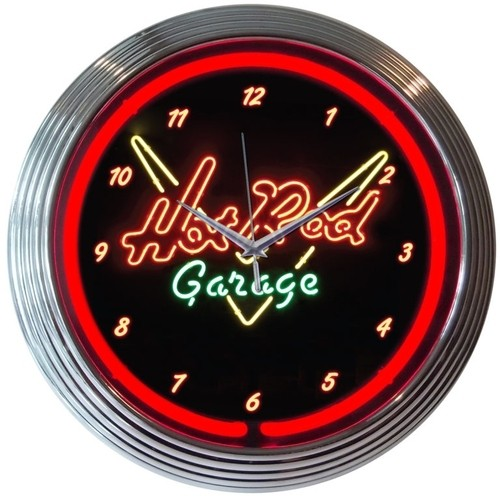 Hot Rod Garage Neon Wall Clock