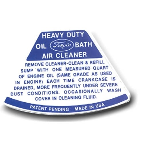 Air Cleaner Service Instruction Decal