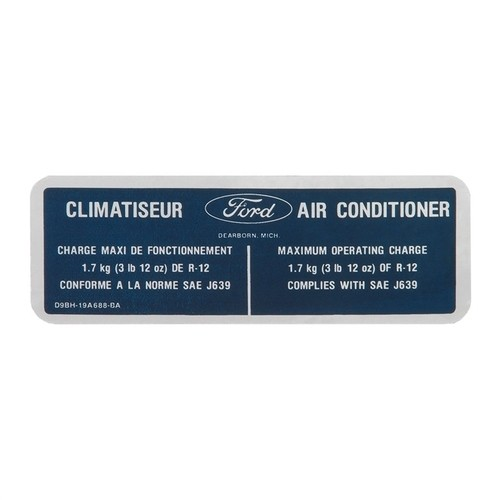1979 Climatiseaur Air Conditioner Charge Decal